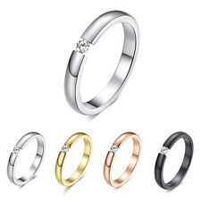 0.1CT Polished Cubic Zircon Stainless Steel Wedding Engagement Band Ring Sz5-10