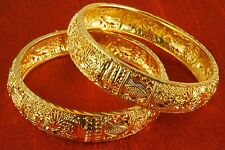 2PC Indian Bollywood 14K Yellow Gold Plated Bangles Kada Set Traditional Jewelry