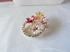 Goldtone Rhinestone Flower Pin/Brooch - Assorted Colors - Your Choice
