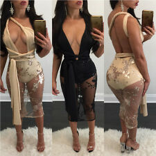 Women Sequins V-neck Backless Bandage Halter Dresses Hollow out Clubwear Party