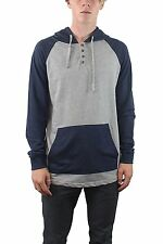 Burnside Mens French Terry 3 Button Down Hooded Long Sleeve Henley Cotton Shirt