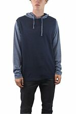 Burnside Mens Knit French Terry Long Sleeve Two Tone Stripe Henley Cotton Hoodie