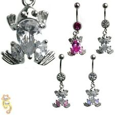 Frog Clear Pink AB Belly Ring CZ Navel Dangle Body Jewelry Hot Beautiful Sexy