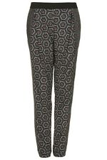 Topshop tile print tapered leg trousers *BNWT*aztec*casual*black/red*loose