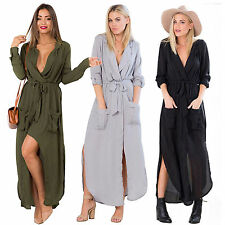 Womens Long Sleeve Loose Casual Long Shirt Dress Belted Split Chiffon Maxi Dress
