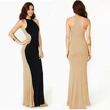 Women Sexy Off Shoulder Halter Stitching Prom Dress Bodycon Cocktail Long Dress