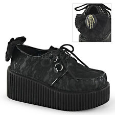 Demonia Creepers 212 Ladies Goth Punk Rockabilly Creeper Black Suede Bow Shoes
