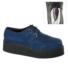 Demonia Creeper 402 Blue Navy Suede Unisex Creepers Hi Sole Shoes Punk Rock