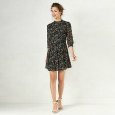 LC Lauren Conrad Black Floral Mockneck Shift Dress size 8,12;NWT