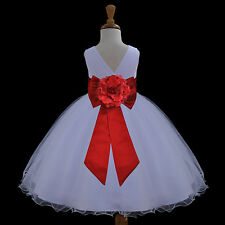 WHITE WEDDING FLOWER GIRL DRESS TODDLER BRIDESMAID UNIQUE SASH 12-18M 2 4 6 8 10