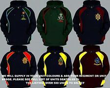 UNITS 0 TO 21 UK FOREIGN ARMY AIR FORCE NAVY REGIMENTAL COLOUR HOODY XS  5XL