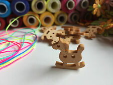 Christmas Wooden Rocking Horse Shaped Buttons - Mixed Colours (x 12) ✿ Crafts