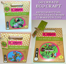 GO CREATE ECO CRAFTS 3 Designs RECYCLE ACTIVITY Bottle Dogs BUG GARDEN Loo Owls