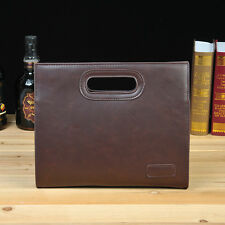 Mens Boys Retro PU Leather Handbag Briefcase Shoulder Messenger Small Brown Bag
