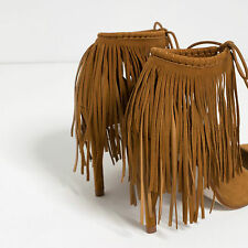 ZARA FRINGED LEATHER HIGH HEEL SHOES WHISKY BROWN LADIES SIZE UK3 EU36 US6