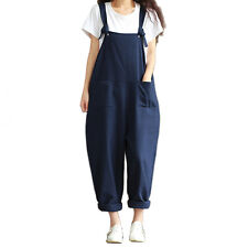 Womens Casual Strap Dungaree Jumpsuits Overalls Long Trousers Harem Pants VV