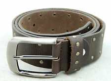 men real leather belt buckle casual vintage grain jeans belt gift brown studded