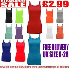 New Womens Ladies Plain Colour Camisole Stretch Strappy Rib Vest Tops Size 8-28