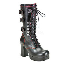 DEMONIA GOTHIKA 101 Ladies Boots Buckle Strap Zip Red Black Punk Boots
