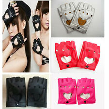 Hot Women Punk Leather Driving Biker Fingerless Mittens Dance Motorcycle Gloves