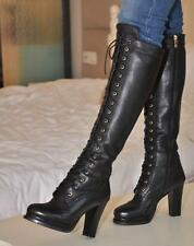 hot womens knee boot gothic wingtip leather zip high heel platform lace up shoes
