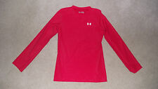Boys Size Youth X-Large Under Armour Heat Gear Long Sleeve T-Shirt II Fitted Red