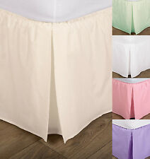 Elasticated box pleat bed valance - single, double and king 5 colours FREE POST