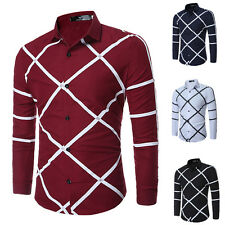 Mens Fashion Luxury Stylish Casual Top Long Sleeve Dress Shirts Slim Fit Shirts