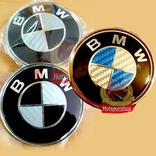 82mm/74mm Black / Blue Carbon Fiber Emblem Badge BONNET Hood Front Rear Logo BMW
