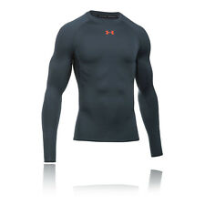 Under Armour HeatGear Mens Grey Compression Long Sleeve Crew Neck Sports Top