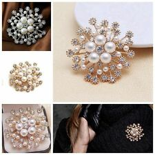 Women Accessories Gifts Crystal Rhinestone Pearl Jewelry Flower Brooches Pins