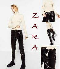 ZARA Patent Leather Effect Black Ankle Length Trousers New(RT$ 65) Pants XS+ M