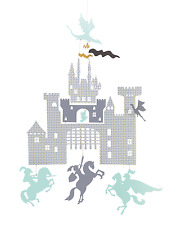 Djeco Castle and Dragon Knight Mini Mobile Hanging Baby Mobile Nursery Decor