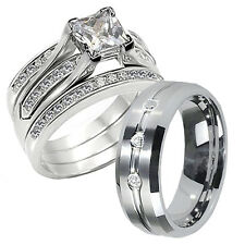 4 Pcs Hers 925 Sterling Silver CZ His Tungsten Wedding Bridal Ring Band Set