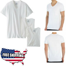 3 PACK Mens T-Shirt White V-Neck Cotton Comfortable Fruit Of The Loom L XL Tall