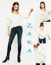 ZARA V-Neck Frilled Blouse 3/4 Sleeve New (RT$45) Ivory Flowing Top Sizes: M; L
