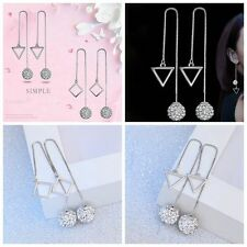 1 Pair  Ear Stud Jewelry Rhombus Silver Plated Crystal Ball Long Drop Earrings