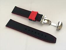 22mm Black Red Silicone Rubber Dive Watch Band Strap & 20mm deployment clasp