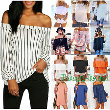 Summer Women Sexy Off The Shoulder T-Shirt Casual Loose Tops Blouse Tee Fashion