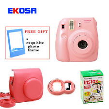 fujifilm fuji instax mini 8 instant film photo camera+bag+lens+film 20 sheets