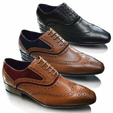 Mens Two Tone Brogues Italian Smart Wedding Lace Up Wingtip Formal Shoes SIZE UK
