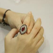Fashion Punk Style Oval Vintage Ring Women Girls Alloy Crystal Finger Rings Red