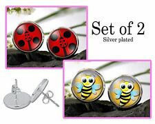 Ladybug and Bumble bee stud Earring set of 2 - Silver Plated Stud Earrings