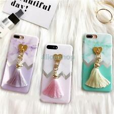 For iPhone 7 7 Plus 6S Trendy Korean Smooth Marble Love Heart Tassel Case Cover