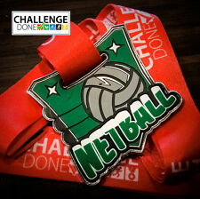 Netball Medals, Team Medals Superior Quality Chrome Metal with Silicon Inlay.