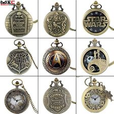 Bronze Vintage Pocket Watch Steampunk Quartz Pendant Necklace Chain Mens Gift UK