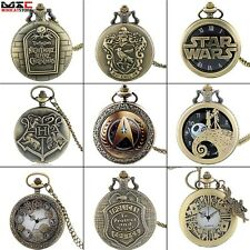 Bronze Vintage Pocket Watch Punk Cool Quartz Pendant Necklace Chain Mens Gift UK