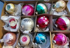 Vintage Lot Shiny Brite Glass Ball Christmas Ornaments Concave Reflector Stencil