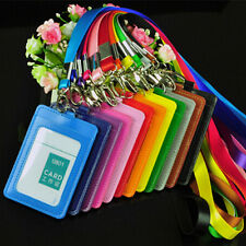 5pcs Double Slot School Badge Card Holder With Lanyard Vertical/Horizontal Style