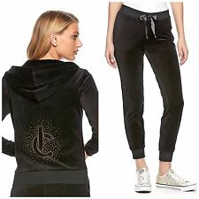 NWT JUICY COUTURE Velour Tracksuit Embellished Jacket Jogger Pants Black  XS S